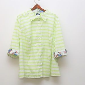 Basic Edition Lime Green and White Stripped Top
